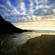 Clouds Posters Prints - Heceta Head at Dusk Print by Bonnie Bruno