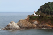 Remote Metal Prints - Heceta Head Lighthouse - Oregons Scenic Pacific Coast Viewpoint Metal Print by Christine Till