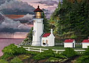 Storm Prints Mixed Media Framed Prints - Heceta Head Lighthouse Framed Print by James Lyman