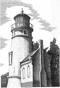 Buildings Drawings - Heceta Head Lighthouse by Lawrence Tripoli
