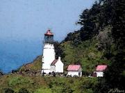 Red Roof Framed Prints - Heceta Head Lighthouse Framed Print by Methune Hively