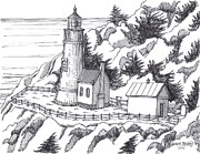 Historic Site Drawings Posters - Heceta Head Oregon Poster by Bill Friday