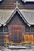 Architecture Prints - Heddal Stave Church Side Entrance Print by Heiko Koehrer-Wagner