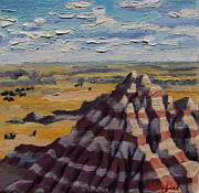 Badlands Painting Originals - Heddy Draw by Patricia A Griffin