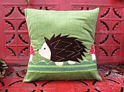 Pillow Tapestries - Textiles - Hedgehogs and mushrooms by Jolene Wheeler