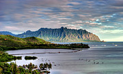 Fish Pond Prints - Heeia Fish Pond and Kualoa Print by Dan McManus
