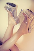 Clear Shoes Prints - Heels Over Head Print by Deelite Photography