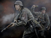 Infantryman Painting Originals - Heer Grenadiers by Chris Collingwood