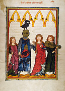 Manuscript Illumination Prints - HEIDELBERG LIEDER, C.14th Print by Granger