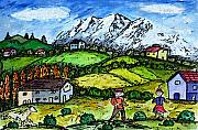 Swiss Alps Drawings - Heidi Country by Monica Engeler