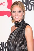 Striped Scarf Prints - Heidi Klum At Arrivals For Qvcs Print by Everett