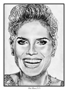 Grey Drawings Framed Prints - Heidi Klum in 2010 Framed Print by J McCombie
