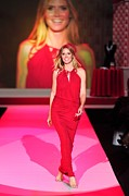 Red Dress Framed Prints - Heidi Klum Wearing A John Galliano Gown Framed Print by Everett