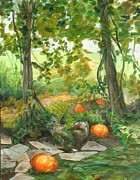 Boston Mountain Prints - Heidis Pumpkins Print by Claire Gagnon