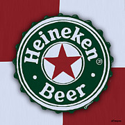 Beer Bottle Cap Art - Heineken Bottle Cap by Jeff Montgomery