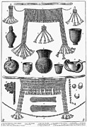 Ancient Earrings Prints - HEINRICH SCHLIEMANN (1822-1890). German traveller and archeologist. Some of the antiquities excavated by Schliemann at Hissarlick, Turkey, site of ancient Troy. Wood engraving, English, 1877 Print by Granger