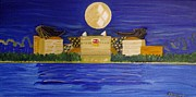 Pittsburgh Painting Originals - Heinz Field casting Three Rivers Shadow by Michele Moore