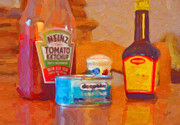 Heinz Tomato Ketchup Posters - Heinz Maggie Deepblue Poster by Nop Briex