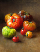 Food And Beverage Tapestries Textiles Prints - Heirloom Tomatoes Print by Robert Papp