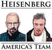 T Shirts Digital Art Prints - Heisenberg Team Print by Tom Roderick