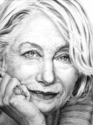 Helen Drawings Framed Prints - Helen Mirren Portrait Framed Print by Guillermo Contreras