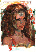 Beautiful Woman Mixed Media - Helen of Troy by Bill Mather