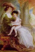 Peter Paul (1577-1640) Framed Prints - Helene Fourment and her son Frans Framed Print by Rubens