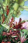 Art Medium Paintings - Heliconias by Mary Lucas Faustine - Printscapes