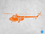 Orange Art Posters - Helicopter Poster by Irina  March