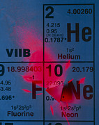 Laser Framed Prints - Helium-neon Elements As Laser On Periodic Table Framed Print by David Nunuk
