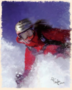 Sports Art Mixed Media Prints - Hell Bent for Powder Print by Colleen Taylor