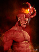 Smoking Book Prints - Hellboy Print by Jason Longstreet