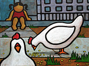 Happy Art Posters - Hello Chickens Poster by Yvonne Lozano