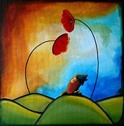 Whimsy Paintings - Hello by Cindy Thornton