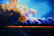 Clouds Sunset Painting Prints - Hello Darkness My Old Friend Print by John Lautermilch