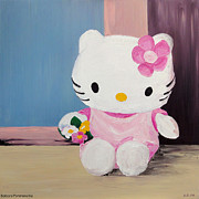 Hello Kitty Paintings - Hello Kitty At The Window by Barbara Pommerenke