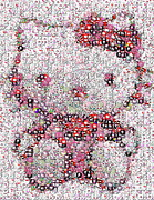 Hello Kitty Posters - Hello Kitty Button Mosaic Poster by Paul Van Scott
