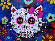 Folk Art Posters - Hello Kitty Day Of The Dead Poster by Pristine Cartera Turkus