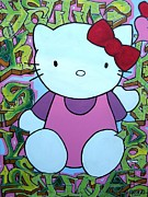 Hello Kitty Paintings - Hello Kitty Graffiti by M Roboto