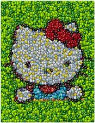 Hello Kitty Posters - Hello Kitty MM Candy Mosaic Poster by Paul Van Scott