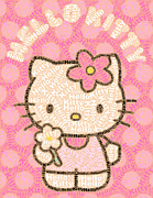 Hello Kitty Posters - Hello Kitty Word Mosaic Poster by Paul Van Scott