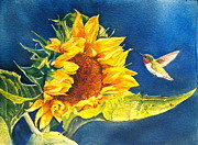 Sunflower Painting Metal Prints - Hello There Metal Print by Patricia Pushaw