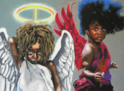 Afro Pastels Prints - Hells Little Angels Print by Andre Ajibade