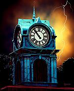 Lightning Digital Art Posters - Hells Timeclock Poster by RC DeWinter