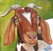 Goat Paintings - Heloise by Laura Carey