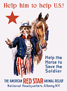 Wwi Propaganda Prints - Help The Horse To Save The Soldier Print by War Is Hell Store