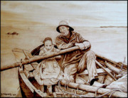 Sepia Pyrography Prints - Helping Hands Print by Jo Schwartz