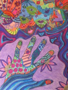 Mosaic Drawings - Helping Hands by Sarah Playle