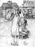 Mother Drawings - Helping Momma Hang Clothes by Toni  Thorne