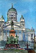Sketchbook Painting Prints - Helsinki Finland Print by Irina Sztukowski